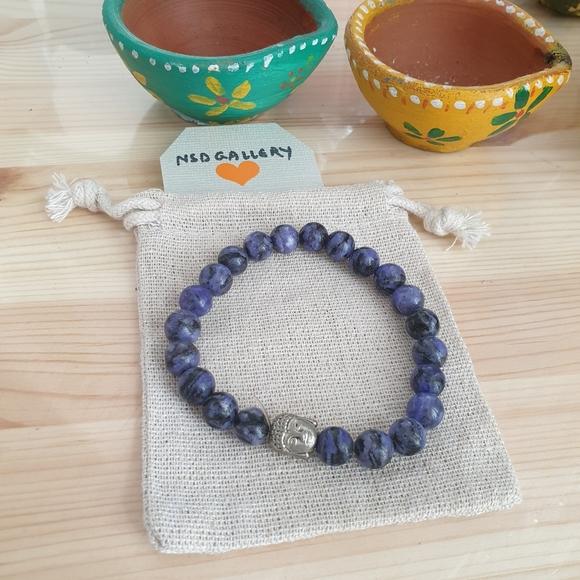 Adjustable genuine gemstone bracelet - Amethyst